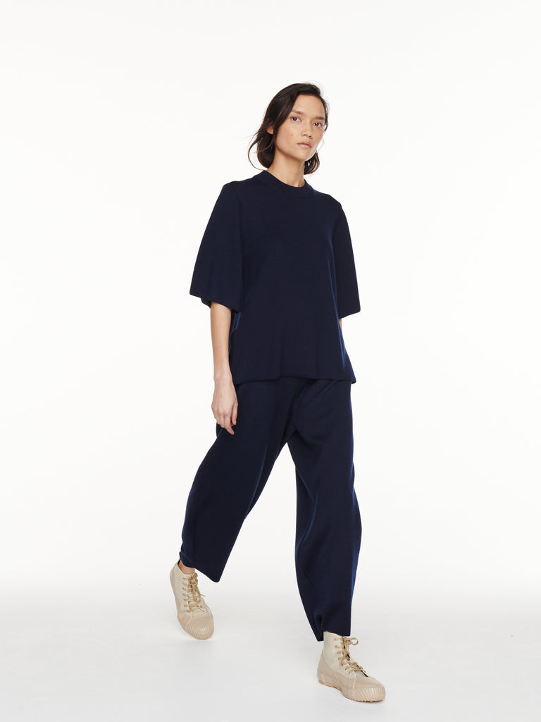 Umberto Knit Top in Dark Navy