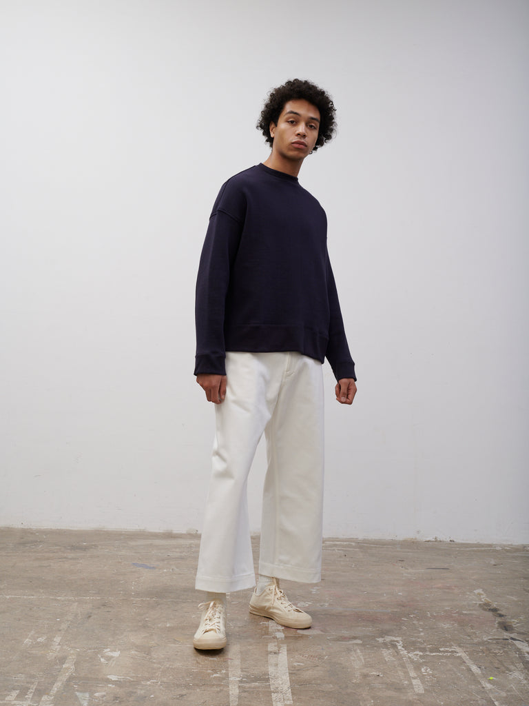 SNJP AKITA Sweatshirt In Loopback Dark Navy - Studio Nicholson