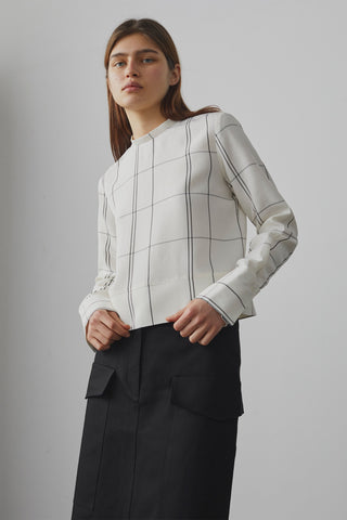 Aldo Cropped Shirt In Ivory / Grey Check