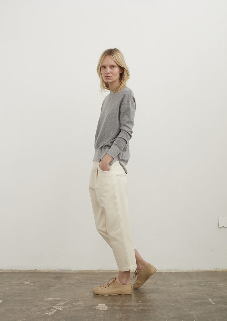 Alfini Pleat Front Japanese Denim Pant In Natural - Studio Nicholson