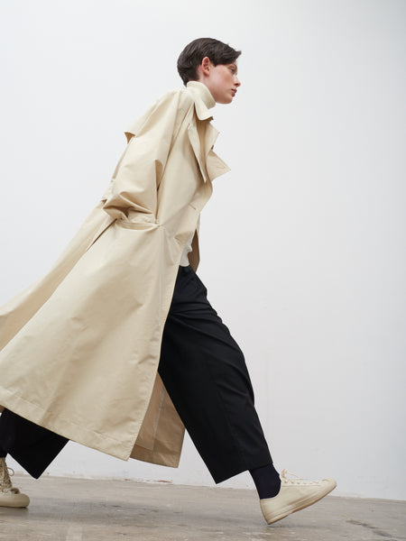 Angstrom Raincoat In Cream - Studio Nicholson