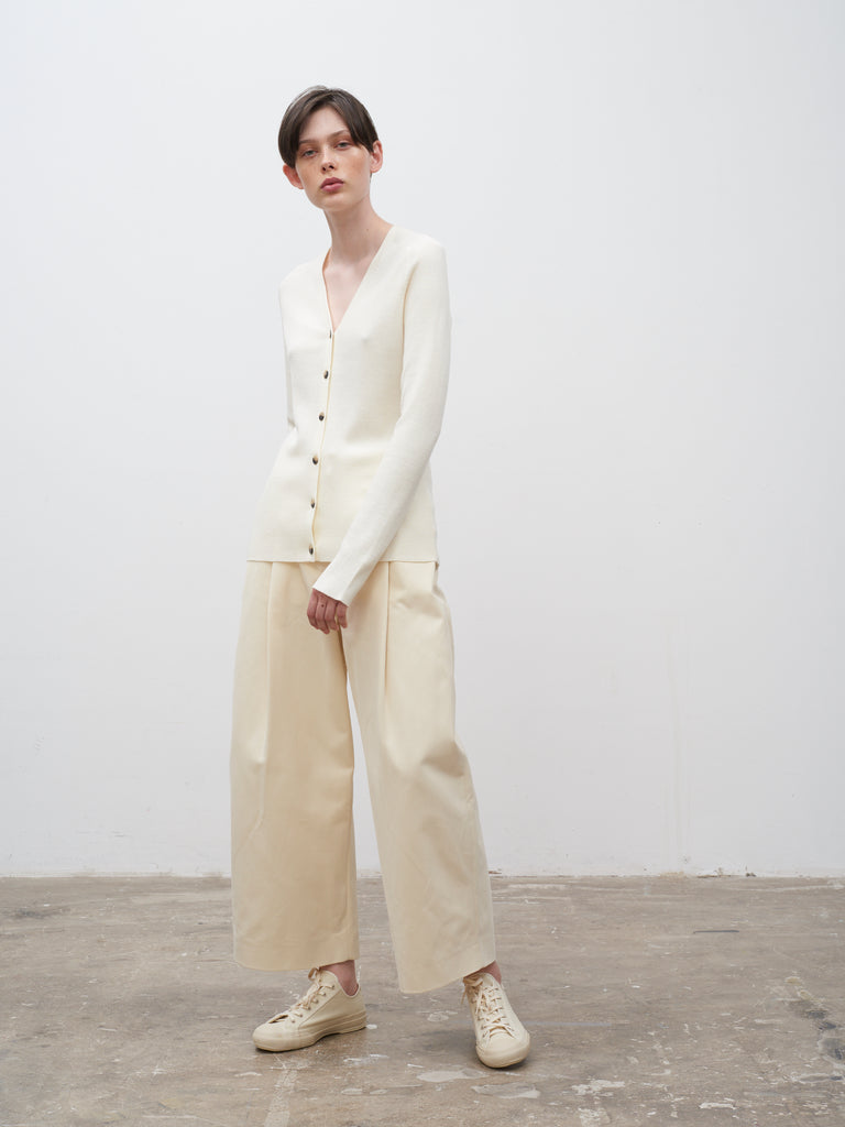 Atto Ribbed Cardigan In Cream - Studio Nicholson