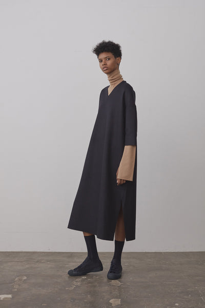 Bass Wool Cashmere Dress In Dark Navy