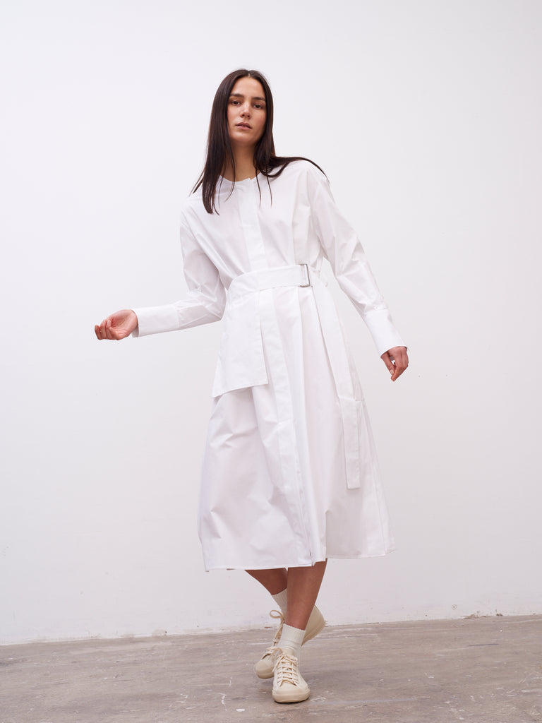 Becher Volume Dress In Optic White - Studio Nicholson