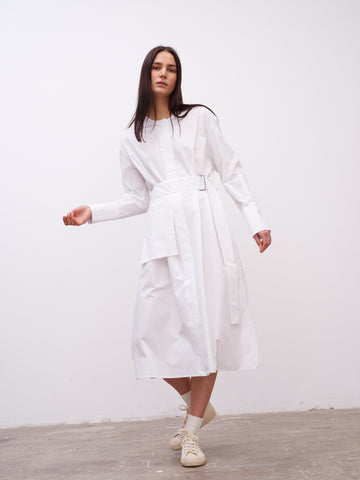 Becher Volume Dress In Optic White