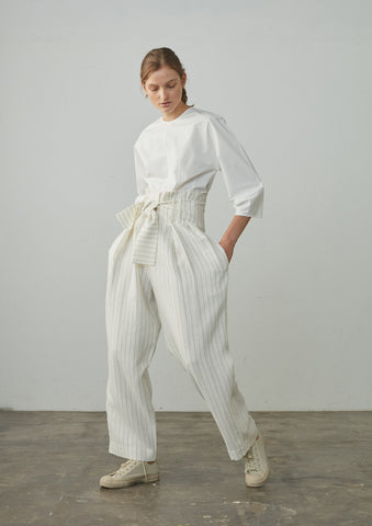 Bora Pant In Ivory And Black Pinstripe