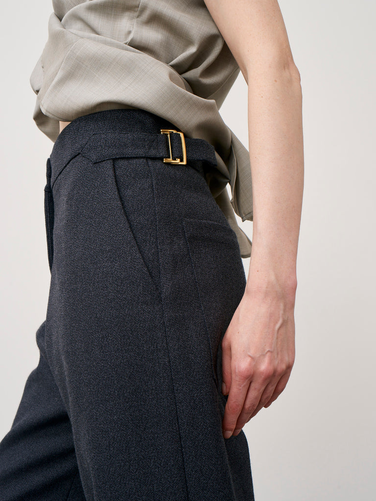 Brace Pant In Thornproof Grey Melange Wool - Studio Nicholson