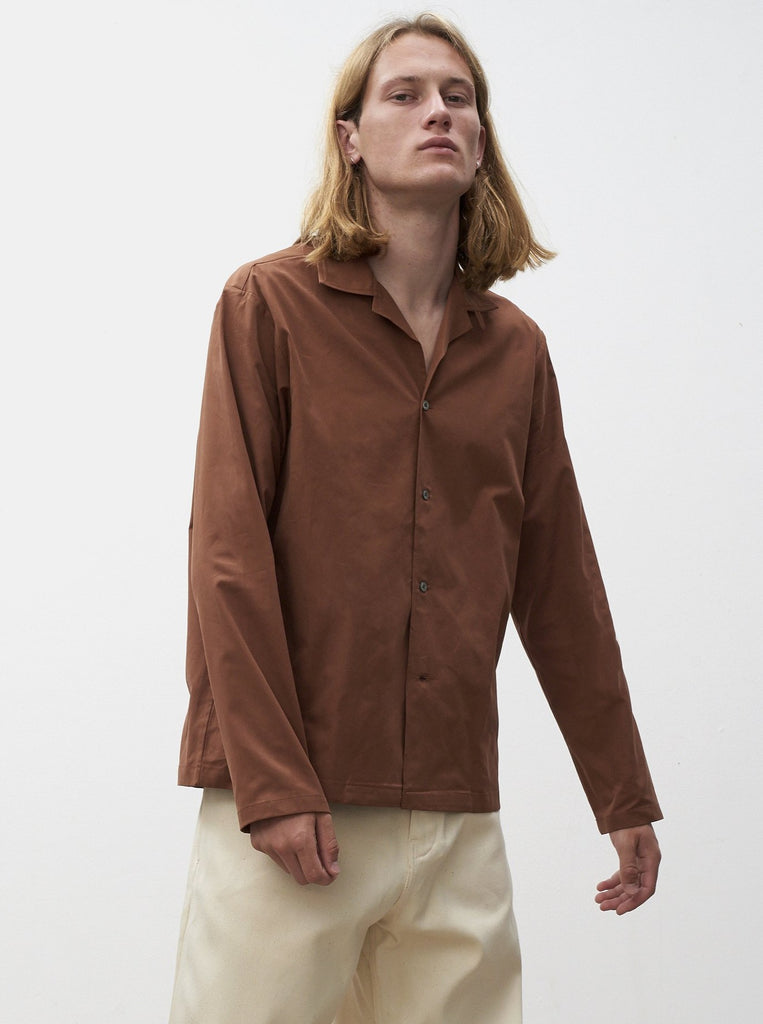 Calico Shirt In Dark Brown - Studio Nicholson
