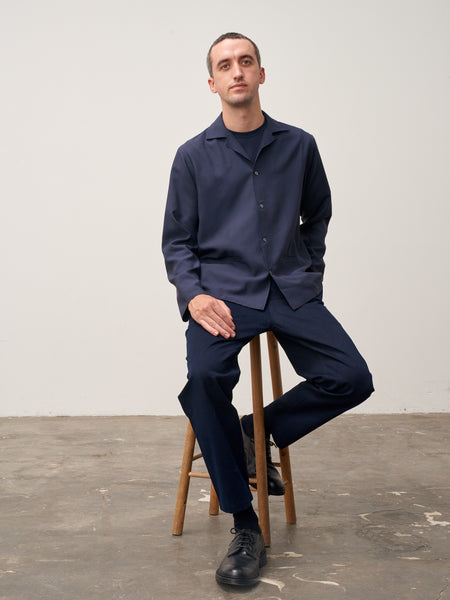 Calico Fluid Shirt In Dark Navy - Studio Nicholson