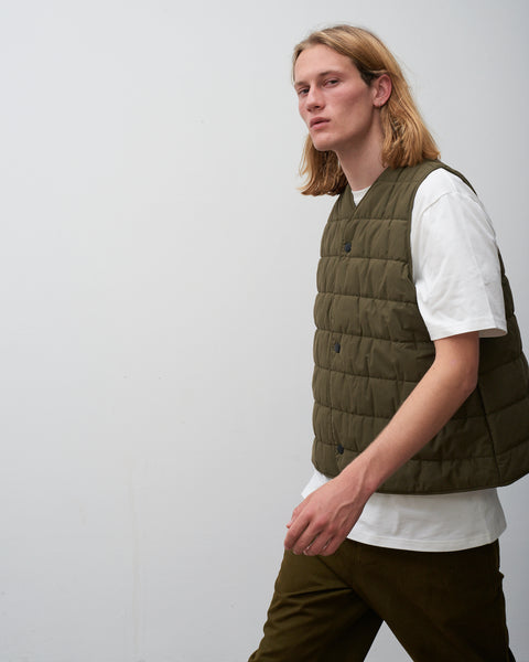 Chaud Quilted Vest In Olive - Studio Nicholson