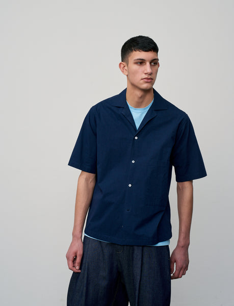 Cockle Shirt In Dark Navy - Studio Nicholson
