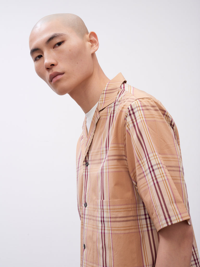 Cockle Shirt In Tan check - Studio Nicholson