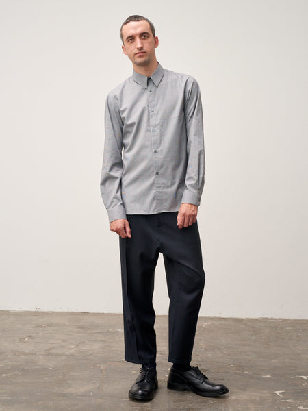 Cork Shirt In Grey Prince Of Wales Check - Studio Nicholson