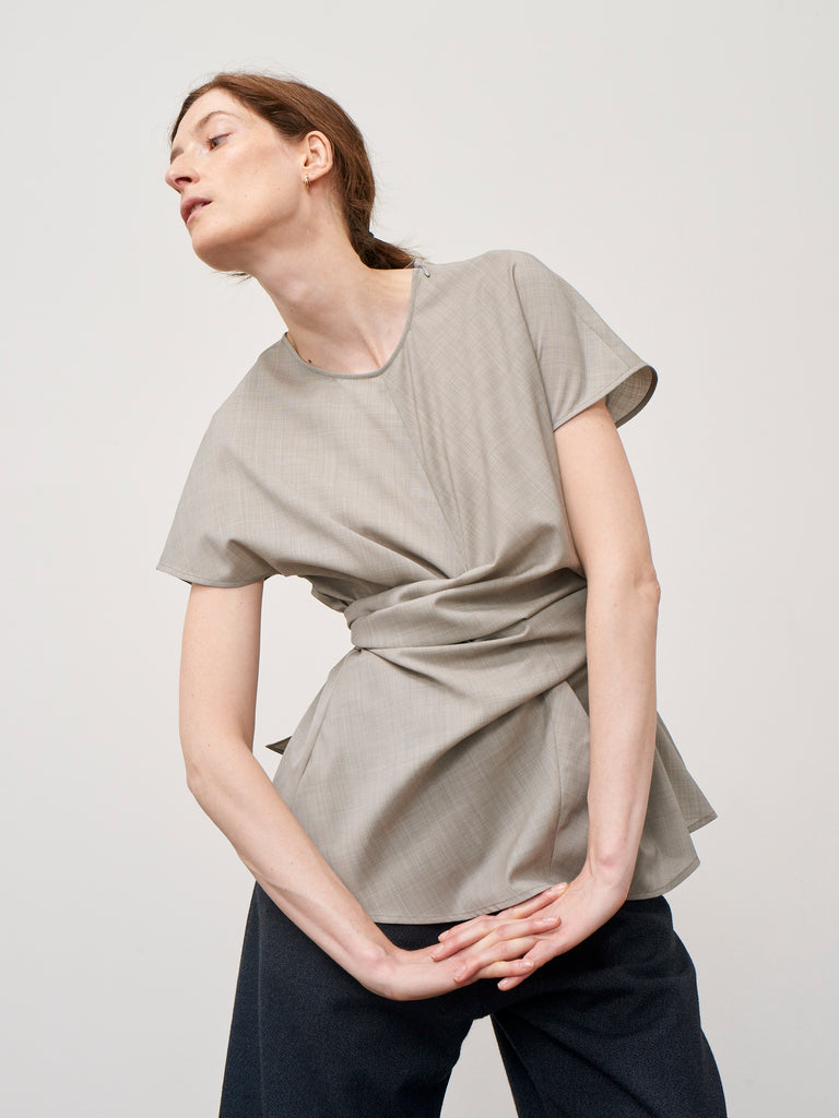 Corsa Top In Putty Superfine Italian Wool - Studio Nicholson