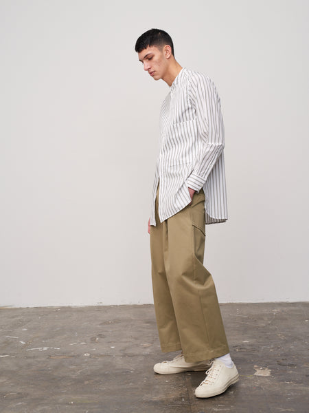 Cortina Shirt In Khaki Stripe - Studio Nicholson