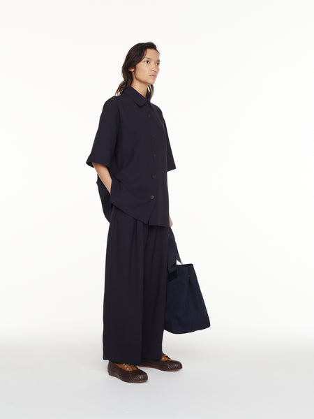 Dordoni Volume Pant in Dark Navy Viscose Wool