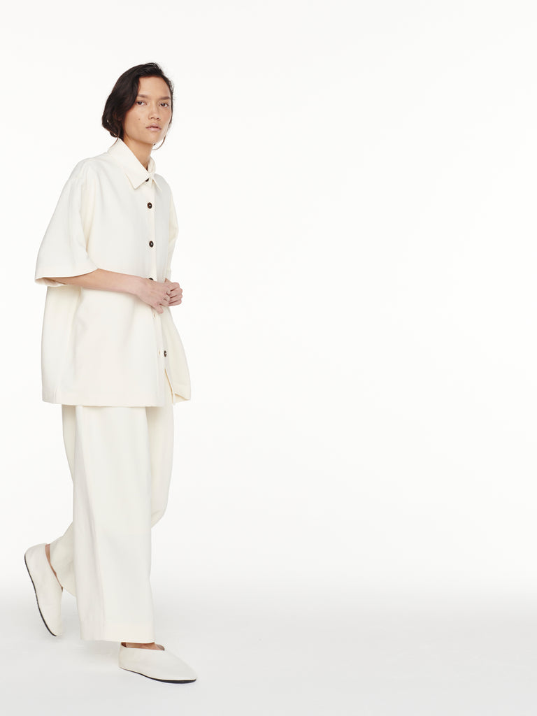 Dordoni Volume Pant in Milk Viscose Wool