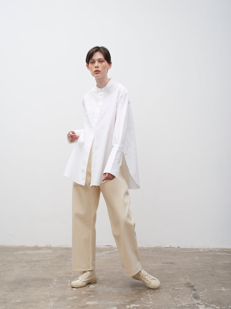 Digit Split Placket Shirt In Optic White - Studio Nicholson