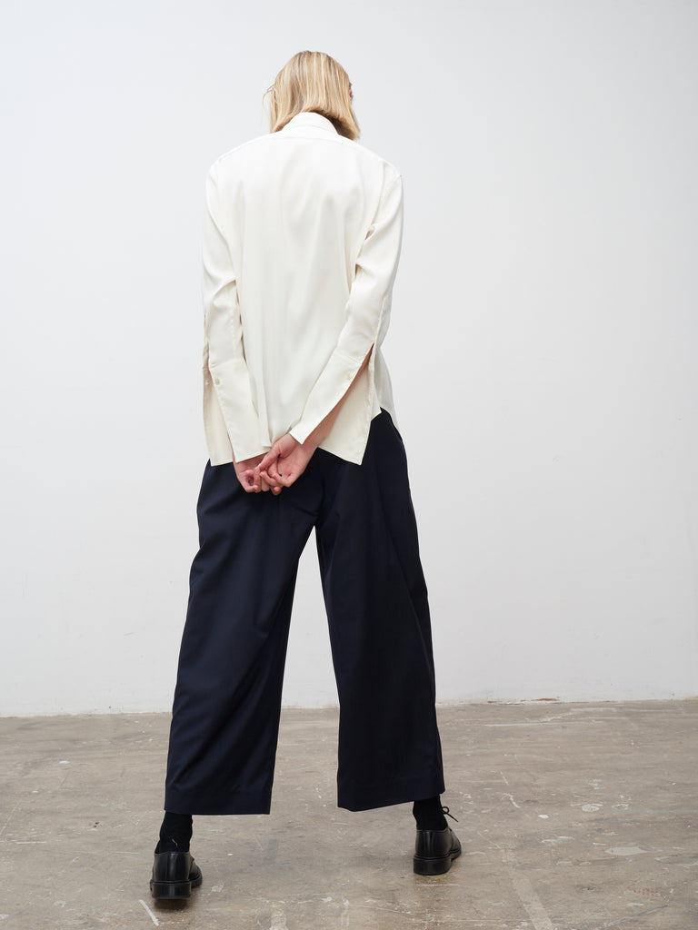 Doriko Fluid Wool Pant In Dark Navy - Studio Nicholson