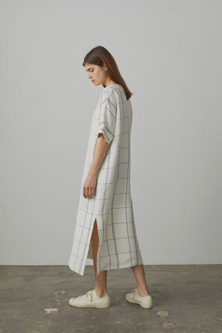 Ercole Oversize Dress In Ivory / Grey Check