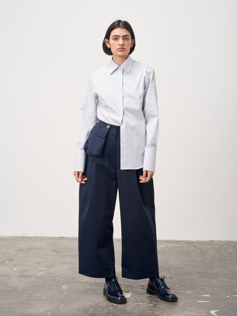Feld Shirt In Navy Stripe - Studio Nicholson