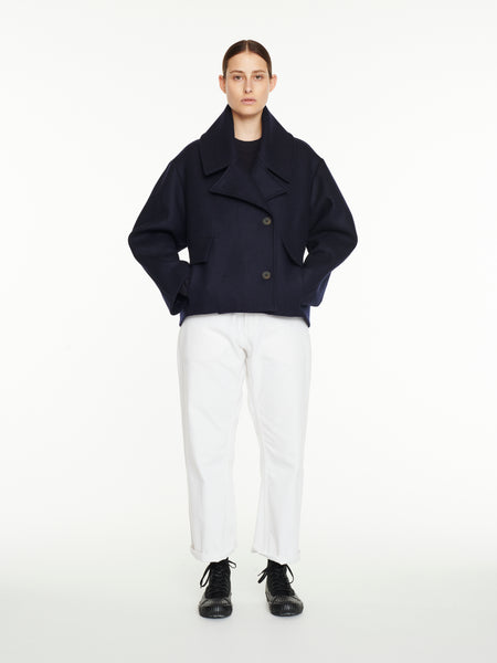 Hato Pea Coat In Dark Navy