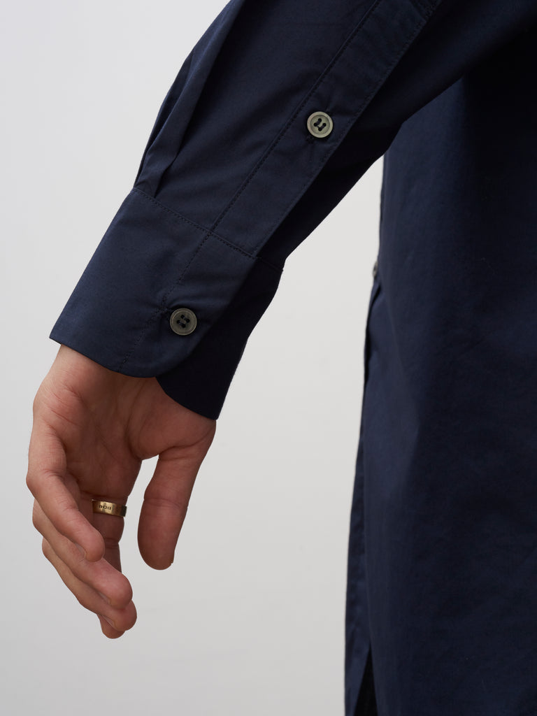 SNJP HAKONE Shirt In Micro Cotton Dark Navy - Studio Nicholson