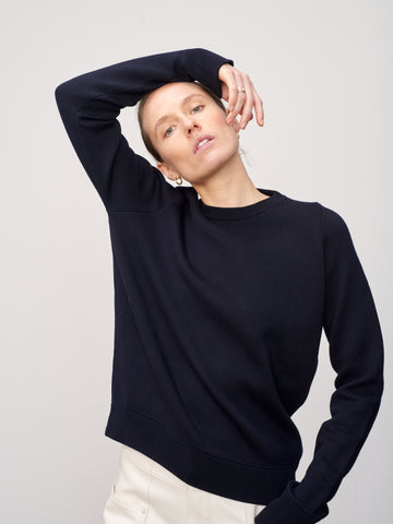 Hayes Merino Knitted Sweatshirt In Dark Navy