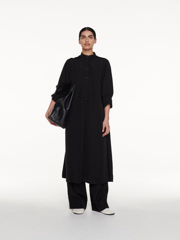 Knoll Dress in Black Viscose Linen