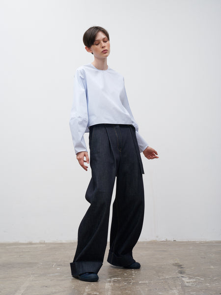 Kilo Wide Leg Pant In Selvedge Denim Indigo - Studio Nicholson
