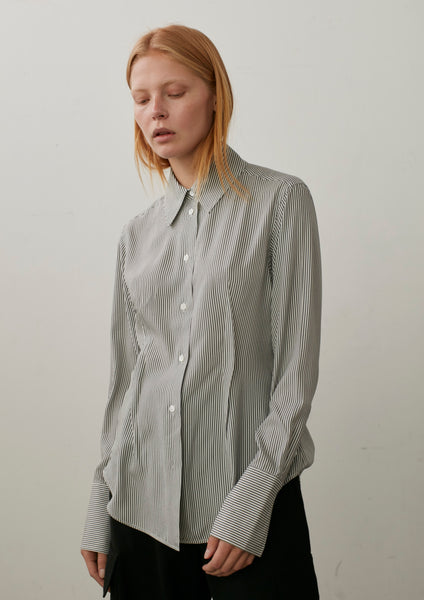 Kite Shirt In Grey Stripe Silk