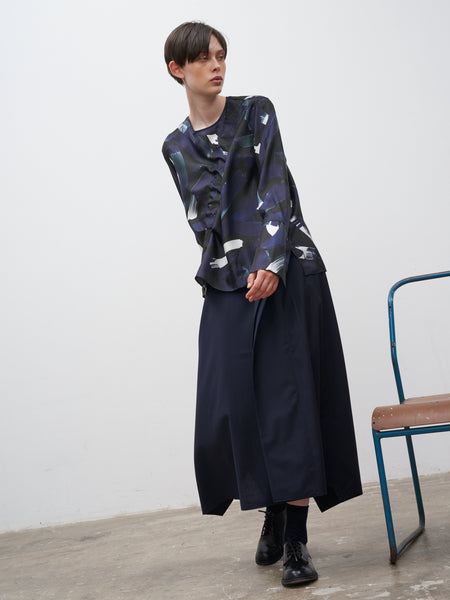 Koche Silk Top In Ink Print - Studio Nicholson