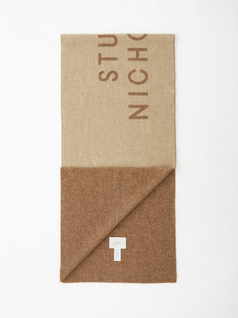 Logo Scarf In Tan / Camel