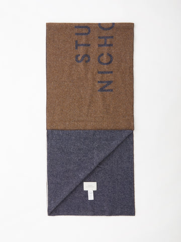 Logo Scarf In Tan / Dark Navy