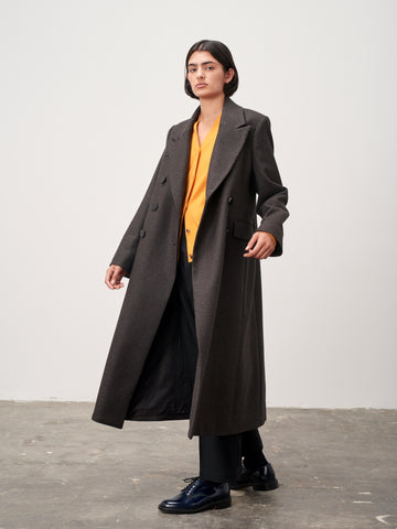 Mantle Dogtooth Wool Long Coat