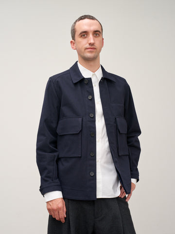 Map Jacket In Dark Navy Wool Twill