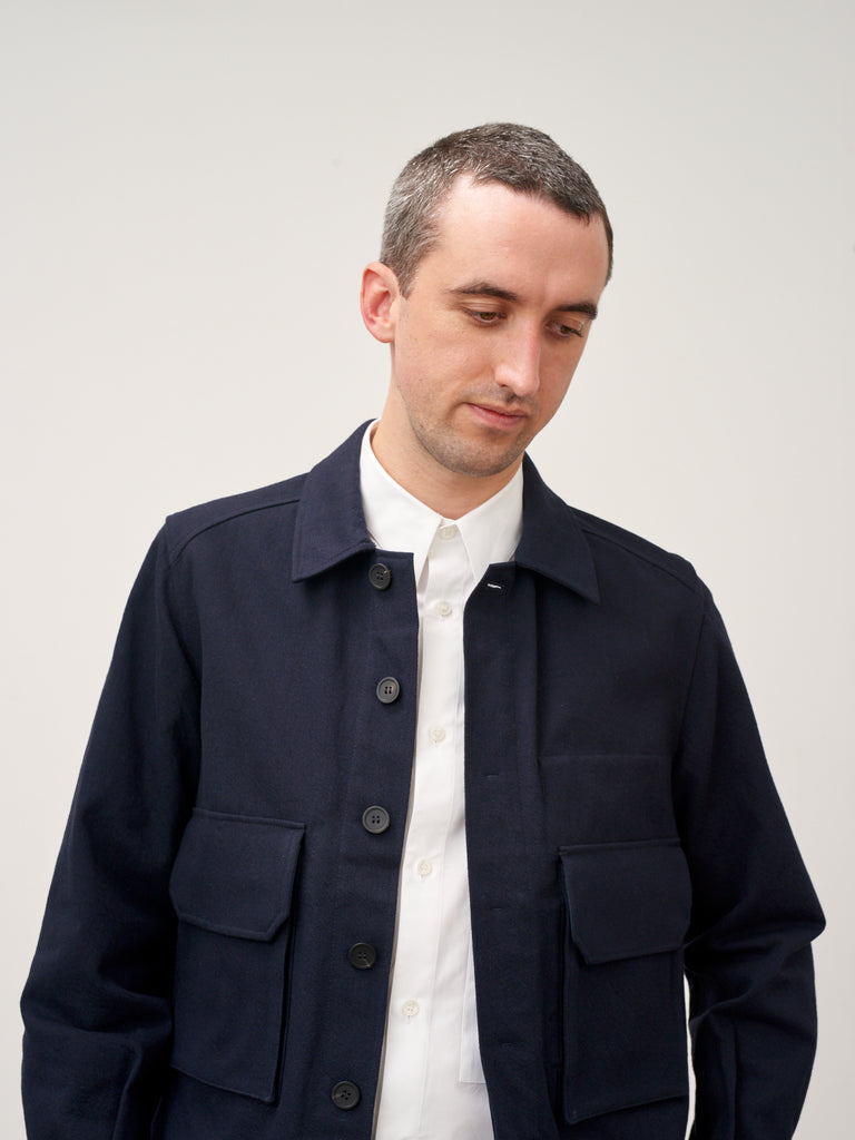Map Jacket In Dark Navy Wool Twill - Studio Nicholson