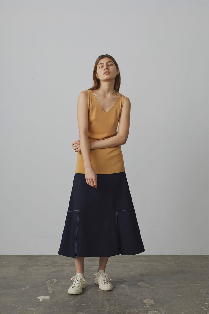 Marino Vented Skirt In Midnight - Studio Nicholson