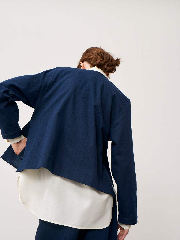 Matzo Jacket In Dark Navy Herringbone - Studio Nicholson