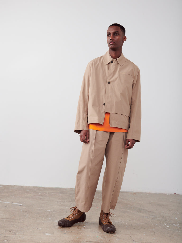 Meno Overlap Shirt In Tan - Studio Nicholson