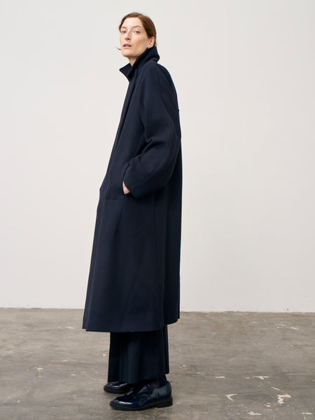 Mercutio Volume Melton Wool Coat In Dark Navy - Studio Nicholson