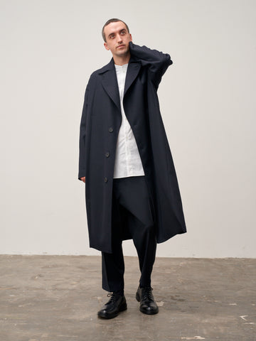 Mind Overcoat In Dark Navy Herringbone Lambswool