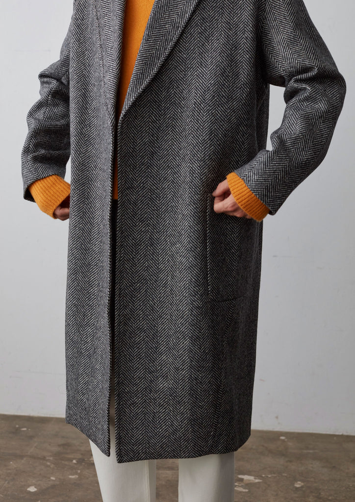 Modem Overcoat In Grey Wool Herringbone