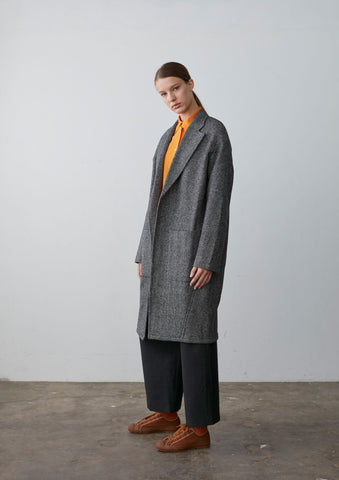 Mother Overcoat In Grey Wool Herringbone