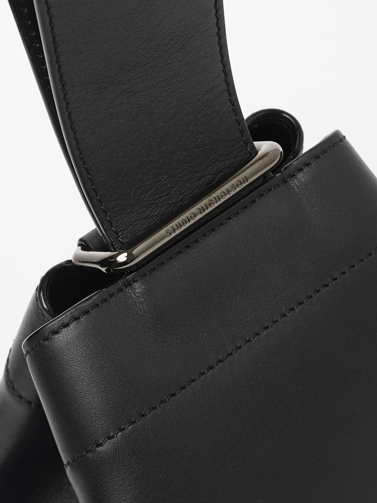 Nano Leather Mini Sling Bag in Black