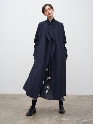 Parsec Coat In Herringbone Dark Navy