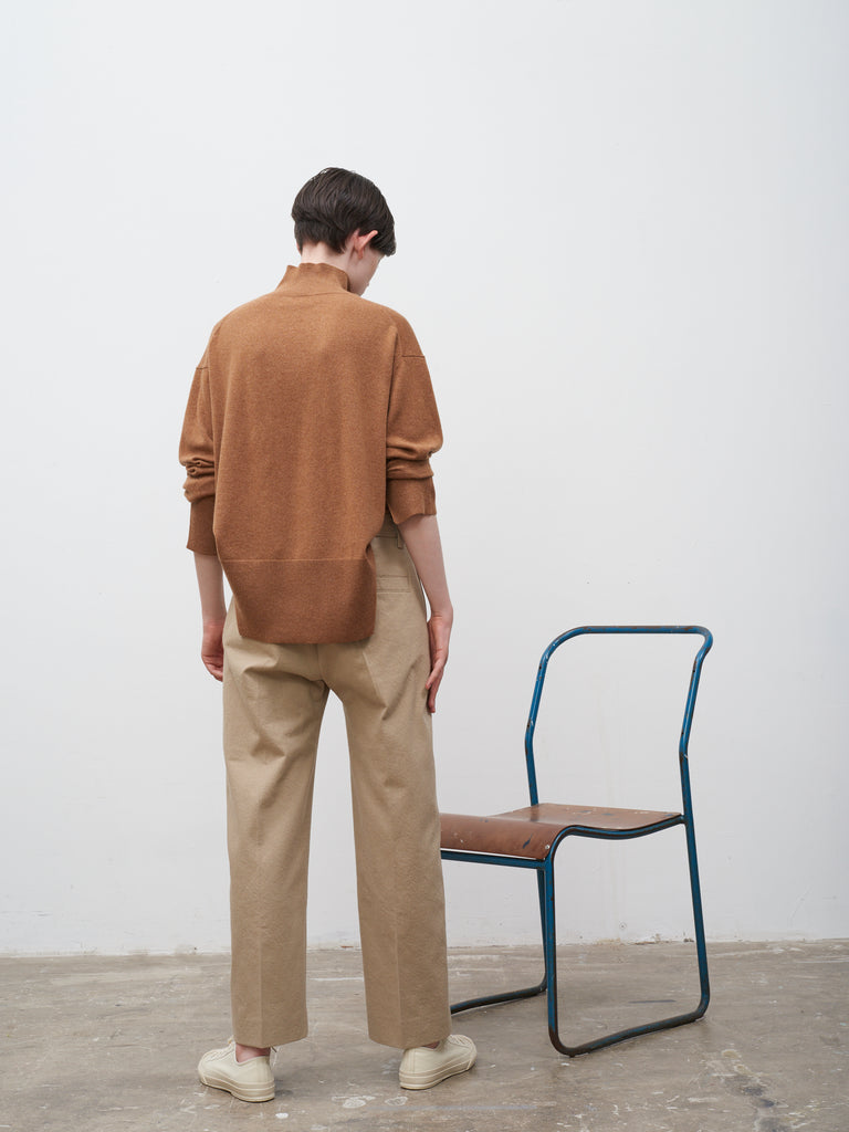 Point Crease Front Slack In Camel - Studio Nicholson