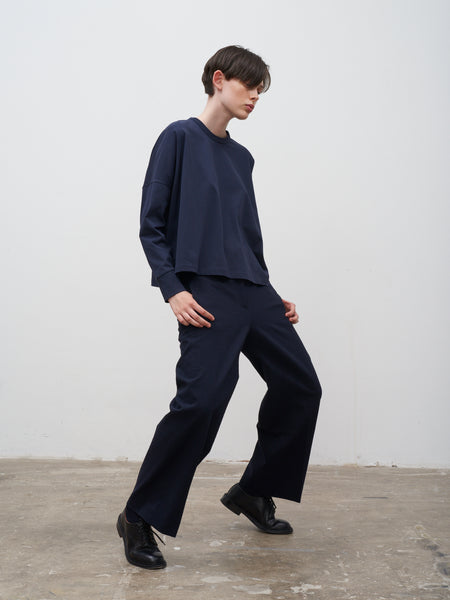 Point Crease Front Slack In Dark Navy - Studio Nicholson