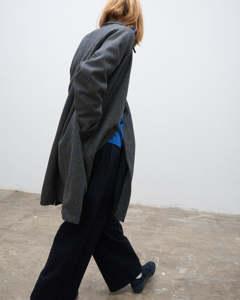 Romer Coat In Grey Blue Check - Studio Nicholson