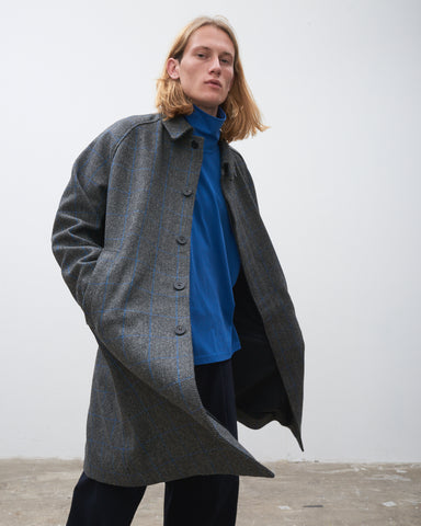 Romer Coat In Grey Blue Check